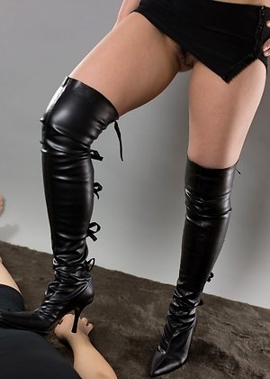 boots, footjobs, jerking, kanna otowa, leather, redhead, upskirt,