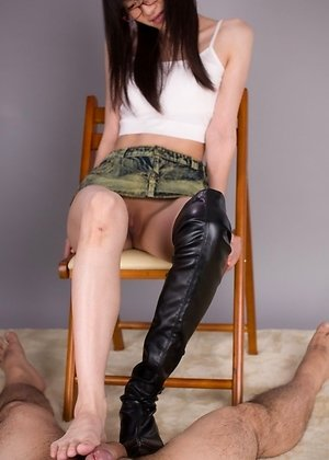 ayaka mikami, boots, footjobs, leather, shaved pussy, skinny, upskirt,