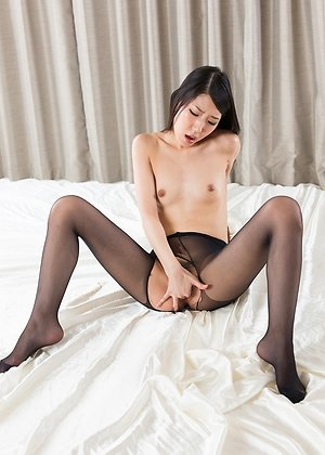 fingered, hairy pussy, longhaired, masturbate, pantyhose, rio kamimoto, skinny, smalltits, solo girl, torn pantyhose,