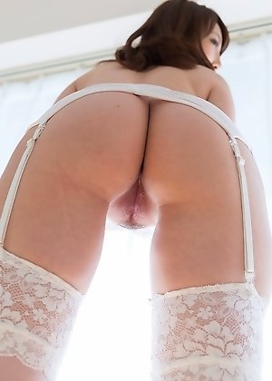 assjobs, aya kisaki, lingerie, shaved pussy, stockings, white stockings,